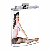 Flask 8oz Stainless Steel Classic Vintage Model Pin Up Girl Design-062 W... - $12.82