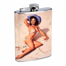Flask 8oz Stainless Steel Classic Vintage Model Pin Up Girl Design-071 Whiskey - $12.82