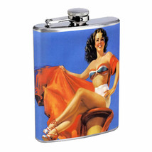 Flask 8oz Stainless Steel Classic Vintage Model Pin Up Girl Design-067 Whiskey - $12.82