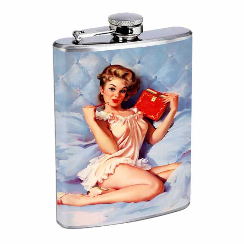 Flask 8oz Stainless Steel Classic Vintage Model Pin Up Girl Design-070 Whiskey