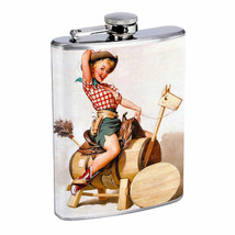 Flask 8oz Stainless Steel Classic Vintage Model Pin Up Girl Design-086 Whiskey - $12.82