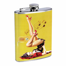 Flask 8oz Stainless Steel Classic Vintage Model Pin Up Girl Design-081 Whiskey - $12.82