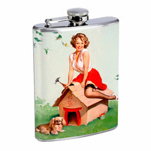 Flask 8oz Stainless Steel Classic Vintage Model Pin Up Girl Design-085 Whiskey - $12.82