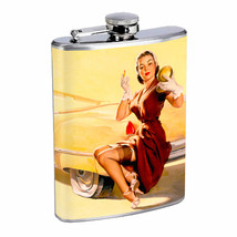 Flask 8oz Stainless Steel Classic Vintage Model Pin Up Girl Design-093 Whiskey - $12.82