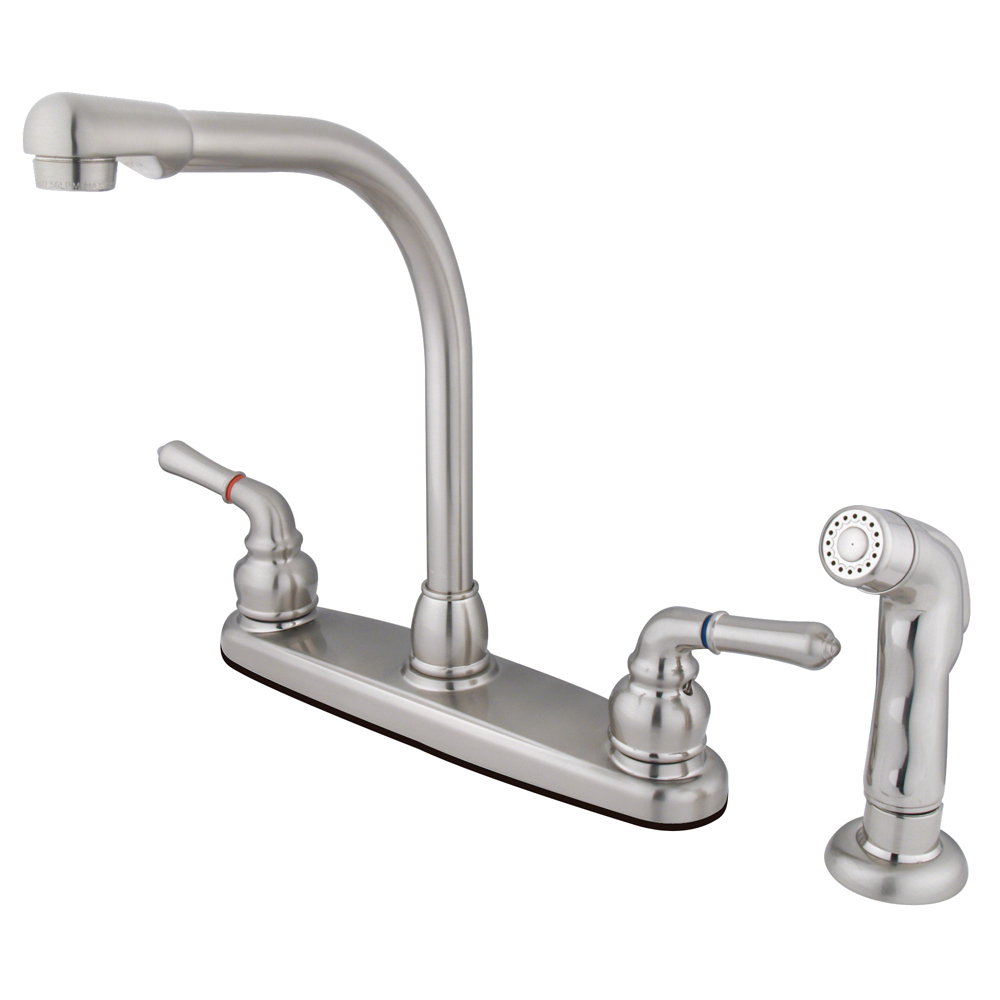 Primary image for Centerset Kitchen Faucet,Brass Lever Handle, Matching Side Sprayer,Satin Nickel