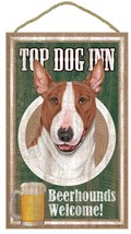 "Top Dog Inn Bull Terrier Brown Bar Sign Plaque dog pet 10"" x 16""  Beer - $21.95"
