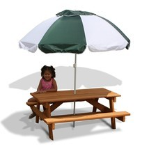 Children's Umbrella Wooden Picnic Table Kid's Durable Cedar Outdoor Furn... - $219.88