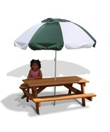 Children's Umbrella Wooden Picnic Table Kid's Durable Cedar Outdoor Furn... - $287.20 CAD