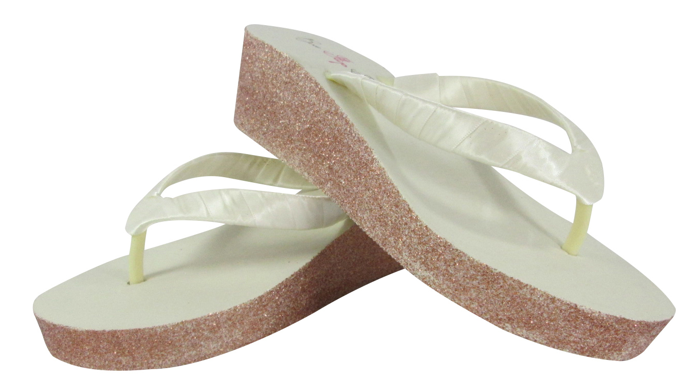 White Silver, Gold Ivory Or Champagne Glitter Wedge Flip -6822