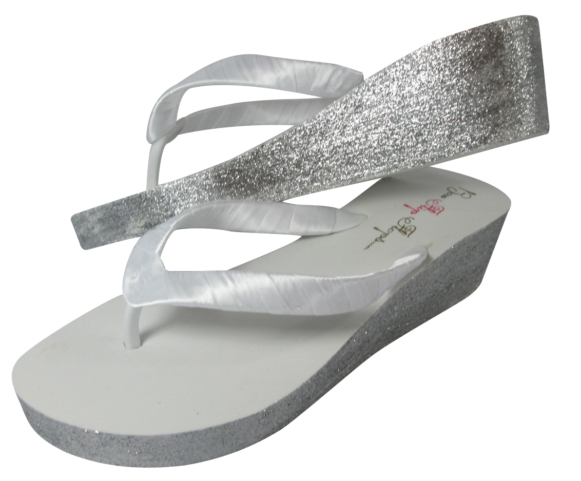 White Silver, Gold Ivory Or Champagne Glitter Wedge Flip -6018