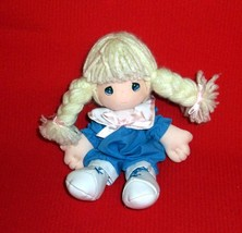 """Precious Moments 7"""" Plush """"Andi"""" Doll with Sweet Braids in Blue Jumpsuit - $4.79"""