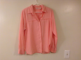 Christopher & Banks Women's Size L Button Down Shirt Gingham Check Pink & White