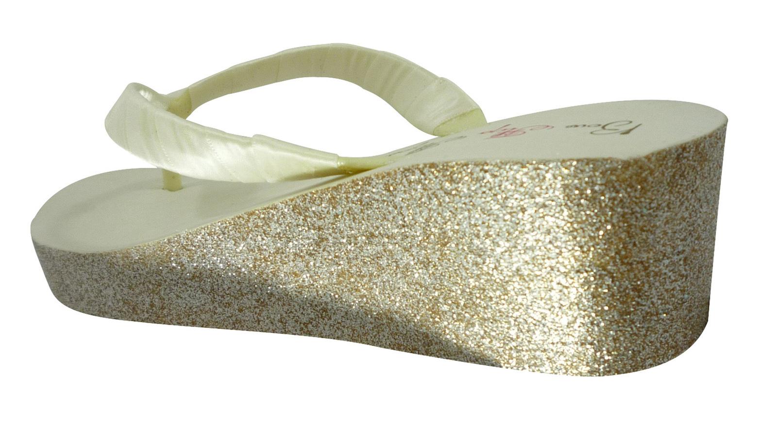 champagne ivory glitter wedge heel flip flop sandals. Black Bedroom Furniture Sets. Home Design Ideas