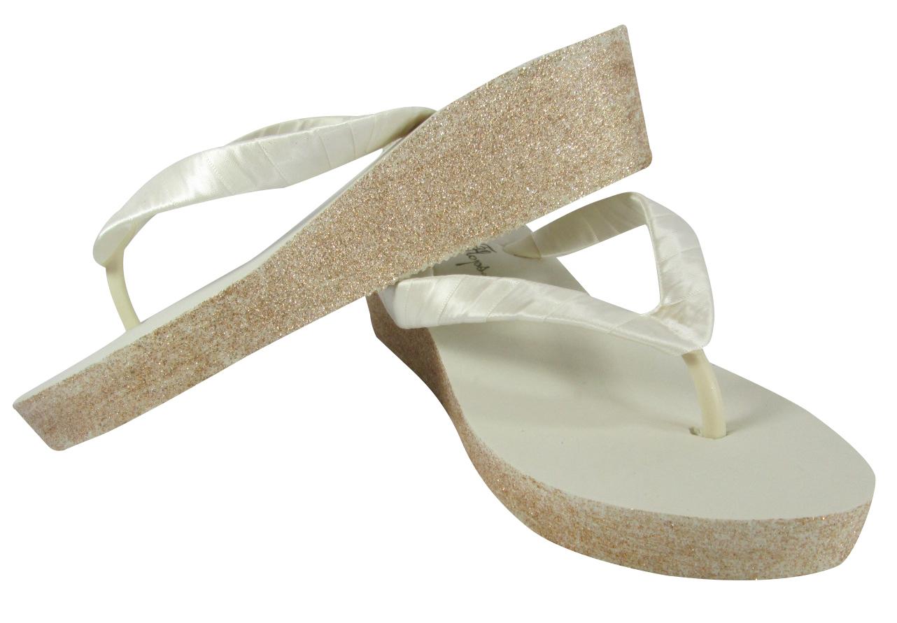 Ivory Wedding Wedge Heels: Champagne & Ivory Glitter Wedge Heel Flip Flop Sandals