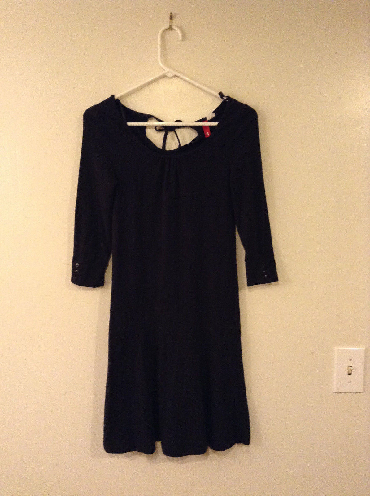 H&M DIVIDED Women's Size 6 Drop Waist Dress Black Jersey Knit Ruched Scoop Neck