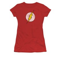 Simply Superheroes Womens flash distressed logo juniors t shirt Juniors Large - $21.99