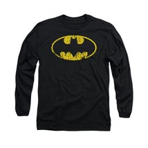 Simply Superheroes Mens batman distressed classic logo mens long sleeve t shi... - $26.99