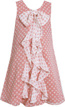 Bonnie Jean Little Girls 2T-6X Coral Sparkle Dot Cascade Chiffon Social Dress