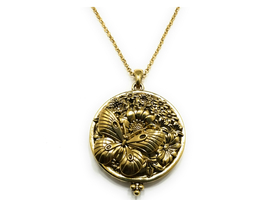 Butterfly Flower Engraved Magnifying Glass Pendant Necklace - $16.95