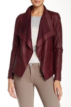 VINCE | Drape Neck Genuine Leather Jacket sz L $995 —  V288990701 IN SCARLET - $378.67