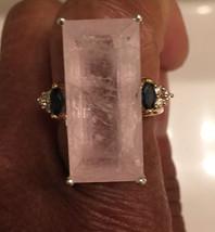 Natural Custom 21 carat pink Morganite, sapphire & diamond 14k yellow go... - $2,999.99