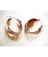 UNIQUE ENTWINED SILVER & GOLD TONE METAL BANDED HOOP LEVERBACK EARRINGS - $11.00