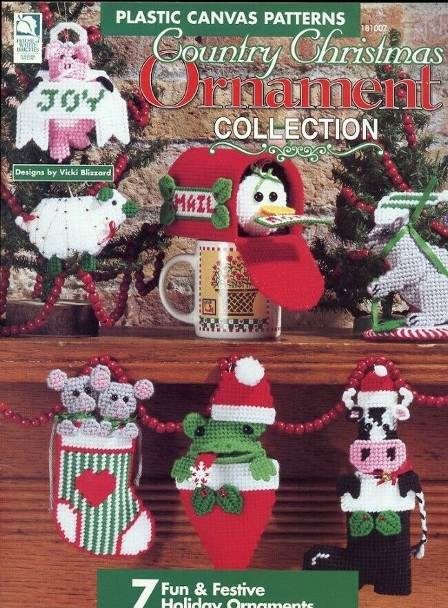 Country Christmas Ornament Collection Plastic Canvas Pattern Booklet 7 Designs