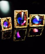 UNUSUAL shape Cufflinks Vintage Rivoli peacock Glass cuff links Tie Tack... - $210.00