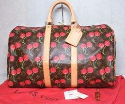 Auth Louis Vuitton Keepall 2005 Boston Bag Brown Leather Logo Zipper LVB... - $7,255.71