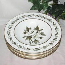 Royal Worcester Bernina Rim Soup Plates Bowls Set Of 6 Bone China England Floral - $129.99