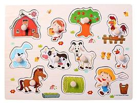 Blancho Bedding Jumbo Knob Wooden Puzzle Kids Jigsaw Pegged Puzzle Board... - $15.39