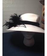August Accessories Fine Millinery Wide Brim White Dress Hat Wool Feather... - $60.31