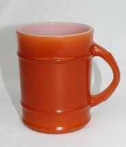 Vintage Mid-Century Anchor Hocking Fire King Barrel Orange Oven Proof Cup Mug - $11.77