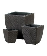 Tuscany Polyrattan Wicker Planters Removable inner Liner Set of 3 Varied... - $103.90