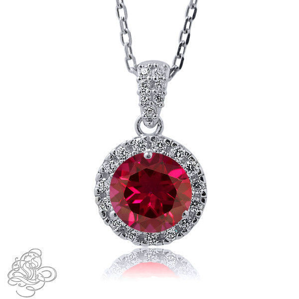 "1.98CT 14K WG Covered 925 Silver Round Shape Genuine Ruby Pendant W/Chain 18"" image 1"