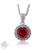 1.98CT 14K WG Covered 925 Silver Round Shape Genuine Ruby Pendant W/Chai... - $59.38