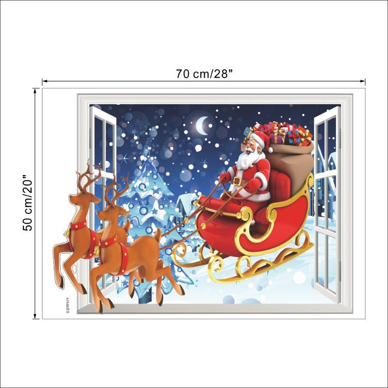 3D Santa Claus Fake Window Stickers Living Room Bedroom Background Wall Sticker