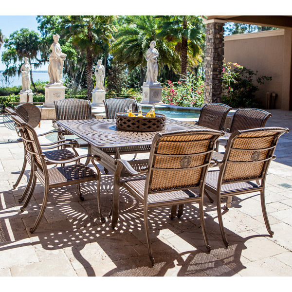 10pc Outdoor All Inclusive Fire Pit Dining Set Wicker ...