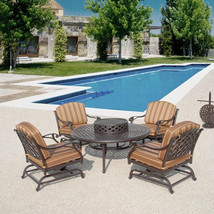 6pc Aluminum Fire Pit Outdoor Dining with 4 Chairs Patio Furniture Seating Set