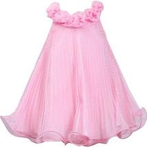 Little Girl 2T-6X Pink Silver Glitter Dot Crystal Pleat Trapeze Social Dress