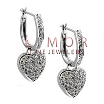 2.01CT Women's Elegant Dangling Heart Shape Hoop Diamond Earrings 14K White Gold - $2,969.01