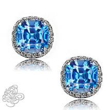 2.49CT Women Halo Cushion Cut Blue Topaz White Sapphire 925 Silver Stud Earrings - $47.38