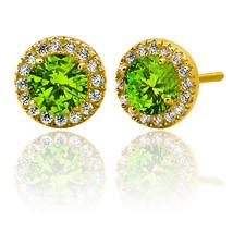 2.39CT Women Stylish Halo Round Peridot Stud Earrings 14K Gold Coverd 92... - $34.74