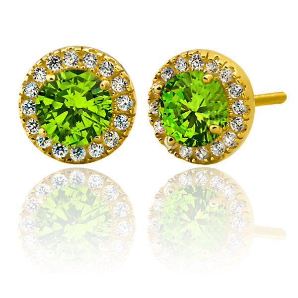 2.39CT Women Stylish Halo Round Peridot Stud Earrings 14K Gold Coverd 925 Silver
