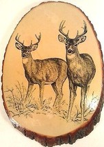 "VINTAGE WILD LIFE WOOD WALL ART DECO BUCKS, DEER BY BENNY NEHR 14.5"" X 10"" - $19.95"