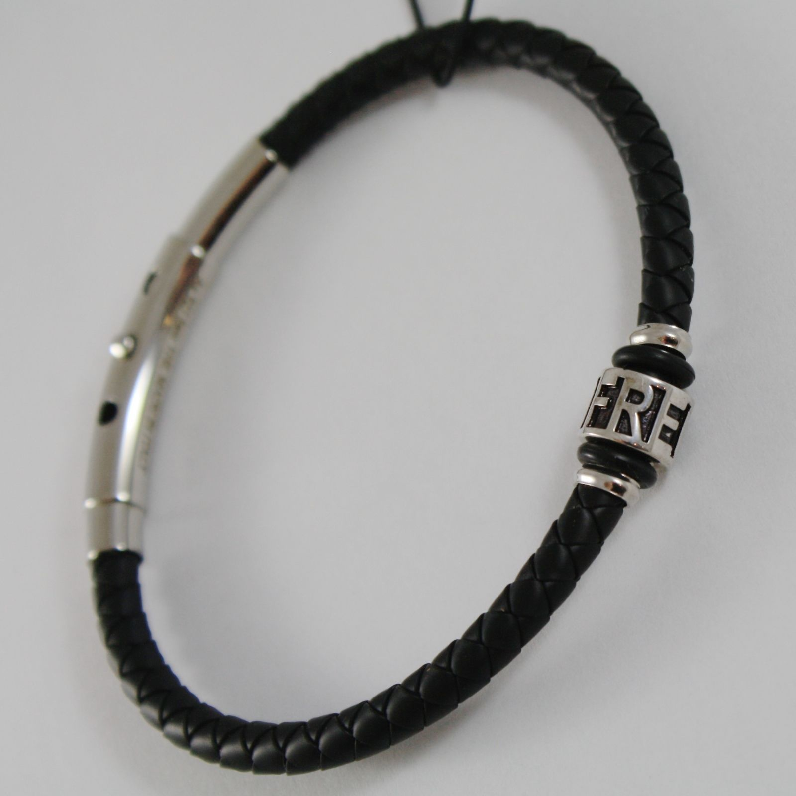 925 SILVER ZANCAN BRACELET BLACK WOVEN LEATHER, FREEDOM CYLINDER, MADE IN ITALY