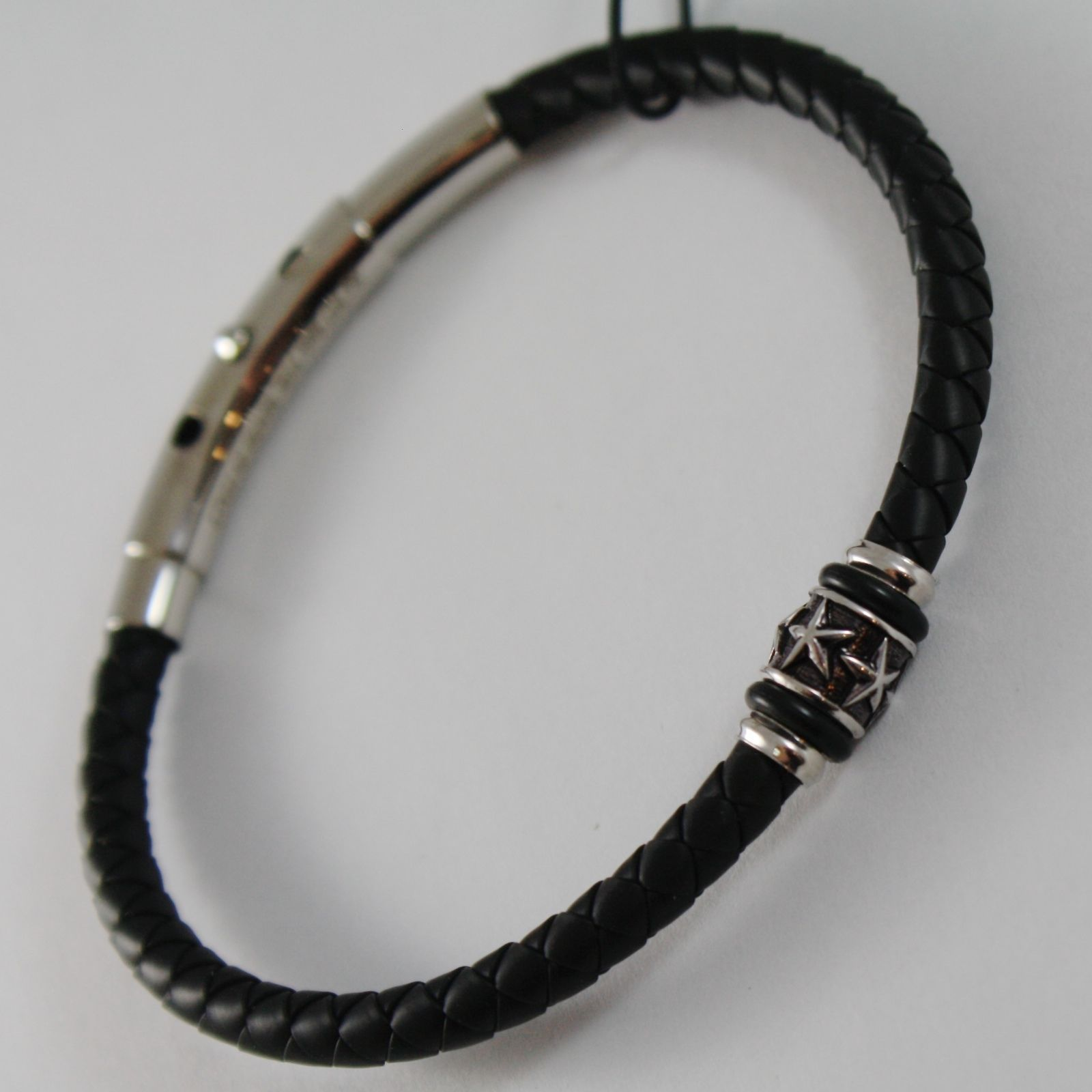 925 SILVER ZANCAN BRACELET BLACK WOVEN LEATHER, STARS CYLINDER, MADE IN ITALY