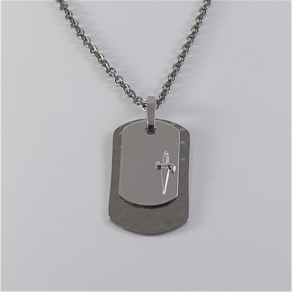 925 SILVER AND STEEL NECKLACE MILITARY PLATE BY CESARE PACIOTTI JPCL1250B 25 INC