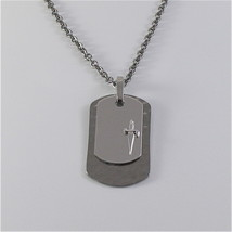 925 SILVER AND STEEL NECKLACE MILITARY PLATE BY CESARE PACIOTTI JPCL1250B 25 INC image 1