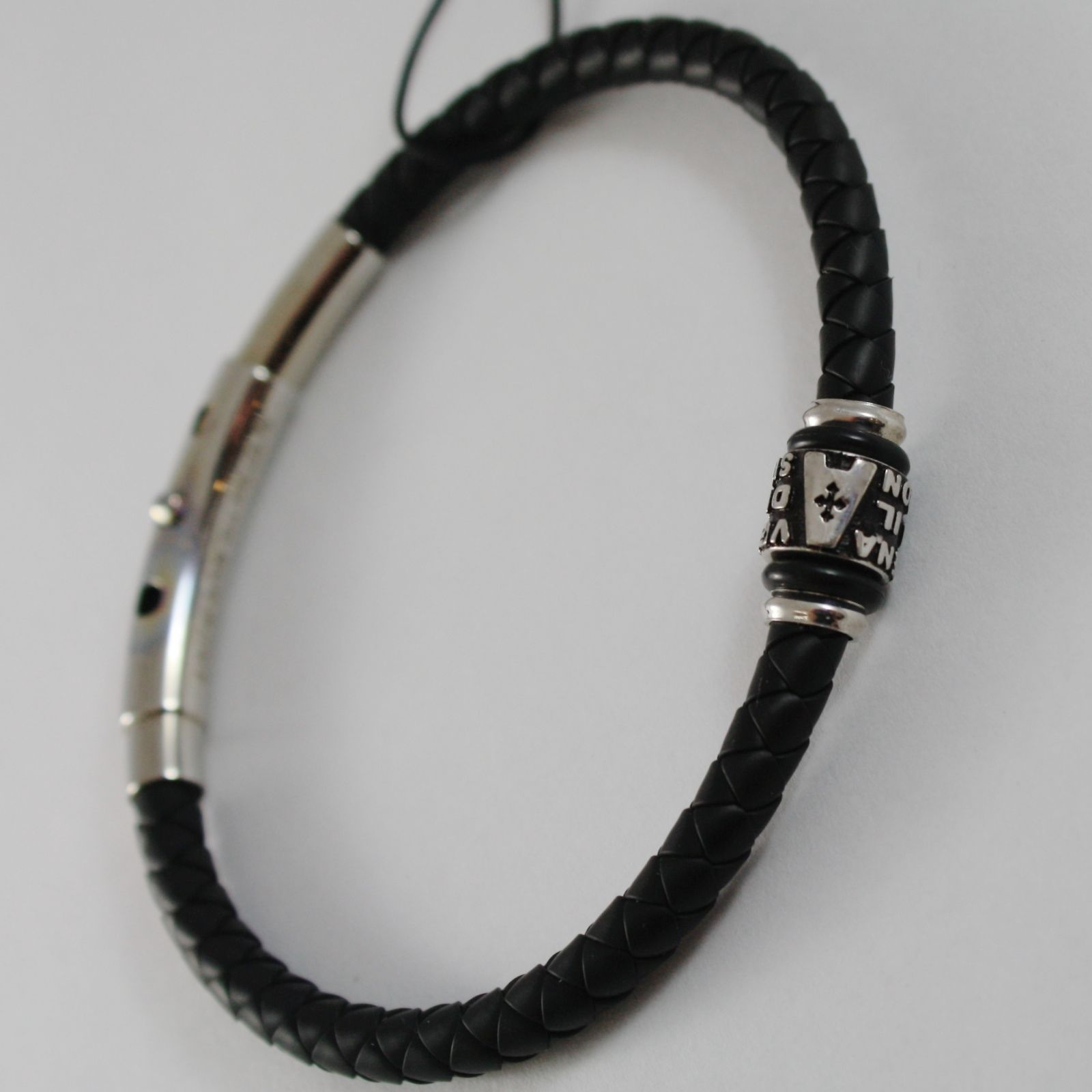 925 SILVER ZANCAN BRACELET BLACK WOVEN LEATHER, AVE MARIA PRAYER MADE IN ITALY